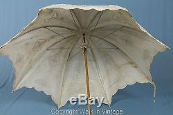 Victorian Edwardian Antique French Le Blanc Lace Parasol Umbrella Wood Handle