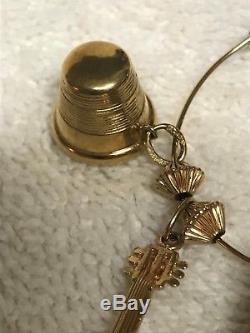 Vintage 14k Yellow Gold Umbrella Charm Holder with Seven 14K Charms 25.9 grams