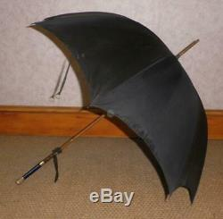 Vintage 18Ct Gold Plate- Black Canopy Umbrella- Painted French Porcelain Grip