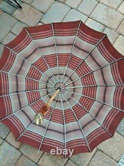Vintage 1920's umbrella with Amber Bakelite and Brass handle and brass chain