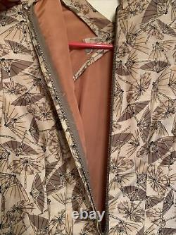 Vintage 1940'S Wiggle Silk Dress Pinup Couture Asian Style Umbrella Mid Century