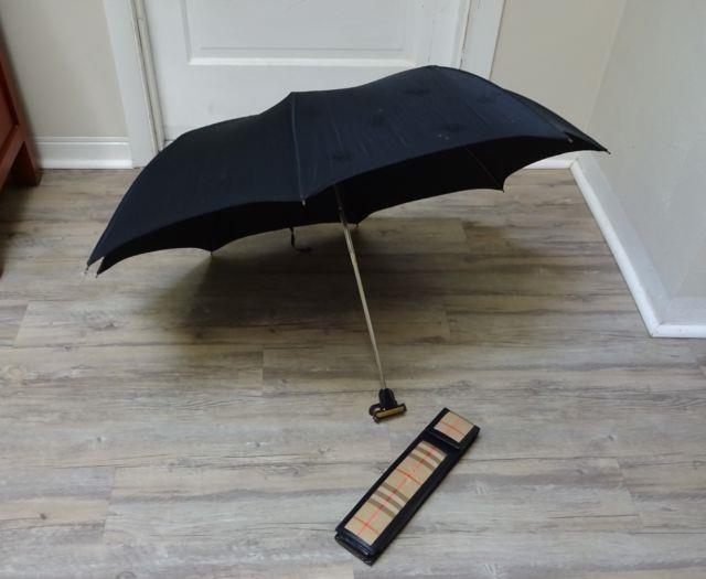 Vintage 1950's/ 60s Burberry Burberry's Umbrella Folding In Leather Canvas Case