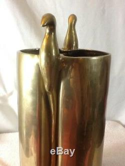 Vintage 1984 Dolbi Solid Brass UMBRELLA/CANE STAND with Bird Ornament MUST HAVE