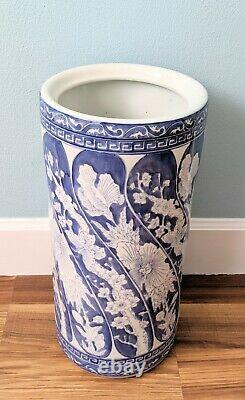 Vintage 20th Century Chinoiserie Blue and White Porcelain Umbrella Stand
