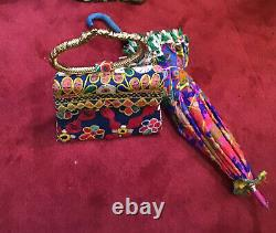 Vintage 60s 70s Indian Bag And Umbrella Set Colorfull Beach