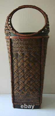Vintage Asian Style Woven Umbrella Stand Basket Handmade 29 x 12 inches