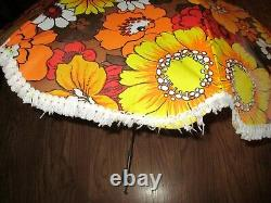 Vintage Beach Chair Table Clamp Clip On Umbrella with Fringe Retro Fringe 45