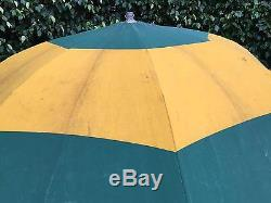 Vintage Canvas Umbrella of Green and Yellow