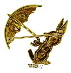 Vintage Cartier Yellow Gold & Ruby Pin Brooch Rabbit with Umbrella, 1960's