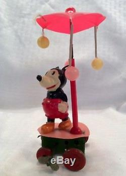 Vintage Celluloid Disney Mickey Mouse Wind Up Umbrella Toy Occupied Japan