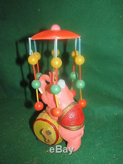 Vintage Celluloid Windup Circus Elephant withUmbrella Occupied Japan 1940's