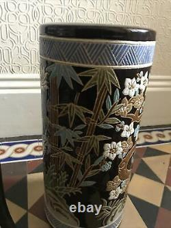 Vintage Chinese Oriental Incised Tall Umbrella Stand Vase Bamboo Forest Design
