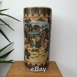 Vintage Chinese Umbrella Stand Authentic Procelin Japanese Hand Painted Oriental