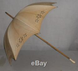 Vintage Cream Canopy Floral Detail Umbrella With A Rounded Carved Handle