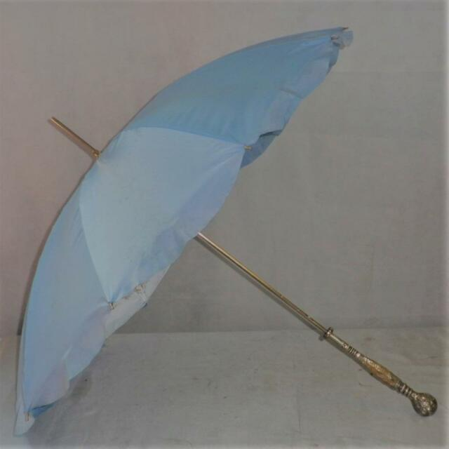 Vintage Detailed Sterling Silver & Mother Of Pearl- Blue Canopy Umbrella -82cm