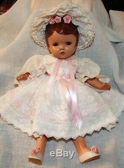 Vintage Early 20th Century Articulated Bisque Girl Doll with Clothes, Umbrella RARE