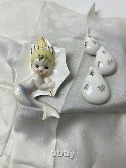 Vintage Enesco mermaid With Umbrella and bubbles set Wall Hangings