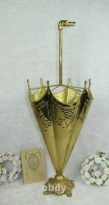 Vintage French Brass metal Dog whippet head umbrella stand holder 1970