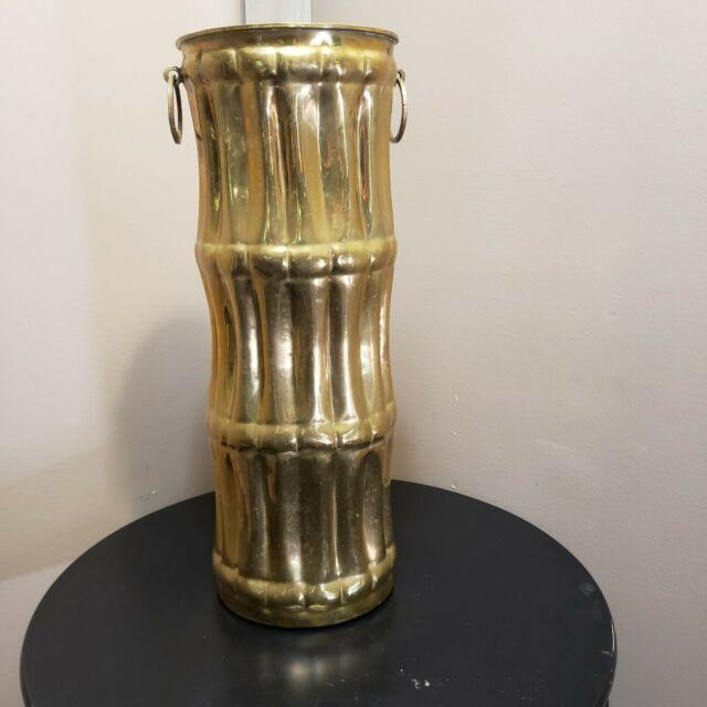 Vintage French Umbrella Stand Walking Cane Brass Faux Bamboo Original 1940's