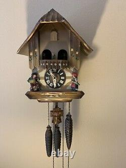 Vintage German Chalet Dancing Couples Musical Cuckoo Clock Woman With Umbrella