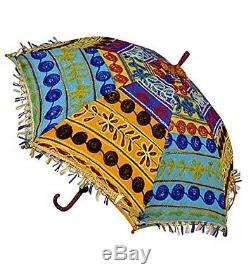 Vintage Handmade Fringed Ethnic Embroidery Indian Parasol Umbrella 24x28in, New