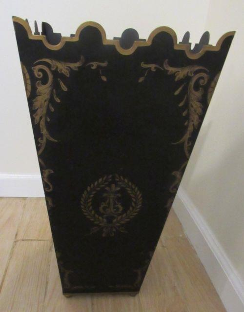 Vintage Italy Tole Umbrella Stand Black With Gold Handpainted