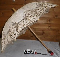 Vintage Laced Sun Umbrella, Cream Lace Detail Canopy Wooden Carved Face/Head Top