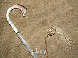 Vintage Ladies Gold/Brown Umbrella- White/Pink Lucite Handle. By Insonia England
