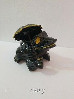 Vintage McCoy FROG with UMBRELLA Planter Black and Yellow Rare Form Complete