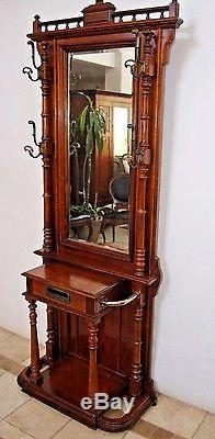 Vintage Neo Classic Hall Tree Marble Top Beveled Mirrors