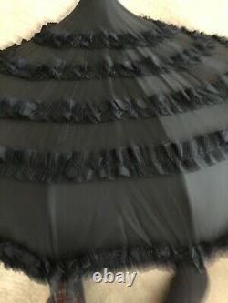 Vintage Parasol Umbrella Black Collapsible Victorian Fabric Shade Made in Italy