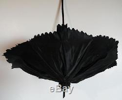 Vintage Petite Delicate Black Fabric Folding Umbrella Parasol with carved handle