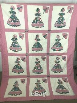 Vintage Quilt Queen Size Sunbonnet Sue Umbrella Homemade Hand Stitched with Lace