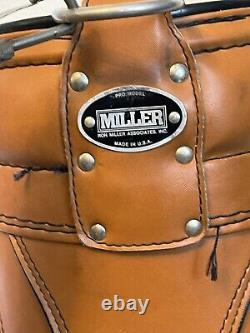Vintage Ron Miller Leather and Vinyl Pro Model 6-Way Golf Bag withUmbrella Green