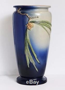 Vintage Roseville Pottery Pinecone Umbrella Stand In Blue
