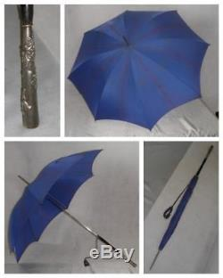 Vintage St Michael's Navy/blue Umbrella-all Solid- Squirrel Theme Detail Handle