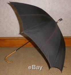 Vintage Sterling Silver Black Canopy Umbrella With Wangy Bamboo Handle