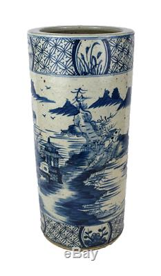 Vintage Style Blue and White Porcelain Blue Willow Landscape Umbrella Stand 20