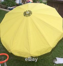 Vintage SunMaster Floral Umbrella mid century modern patio 70s with TABLECLOTH
