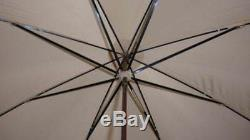 Vintage Superb Beige Canopy Umbrella With Sterling Silver & Mother Of Pearl Handle