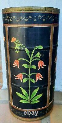 Vintage Umbrella Stand Wooden Hand Painted Black with Floral Motif