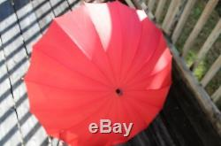 Vintage Umbrella With Gold And Porclain Handle