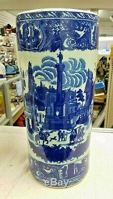 Vintage Victoria Ware Ironstone Flow Blue Umbrella Stand 18 Free Shipping