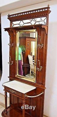 Vintage Victorian Style Hall Tree Marble Top Beveled Mirrors Umbrella Stands