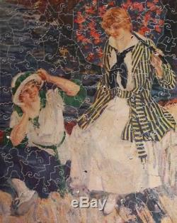 Vintage Wooden Jigsaw Puzzle Two Women and an Umbrella Pastime c1930