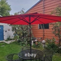 Vintage Wrought Iron Patio Set with Rocker and Side Tables Umbrella