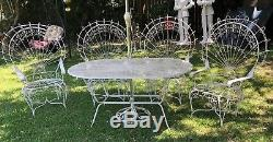 Vintage Wrought Iron Twisted Pea Patio Set Table 4