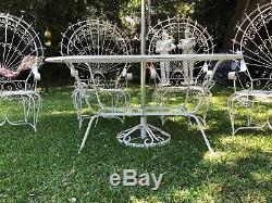Vintage Wrought Iron Twisted Peacock Patio Set Table 4 Chairs Umbrella and Base