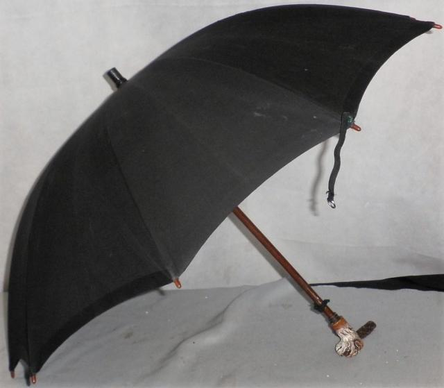 Vintage/antique Black Cotton Canopy Umbrella Dogs Head Handle With Glass Eyes