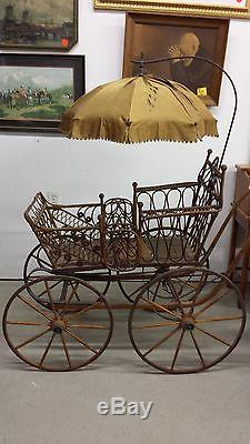 Vintage Wicker Baby Buggy Carriage With Silk Umbrella In Fabulous Shape For Age